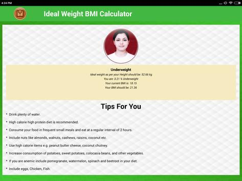 BMI Calculator & Ideal Weight Diet Charts screenshot 13