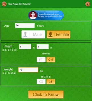 BMI Calculator & Ideal Weight Diet Charts screenshot 16