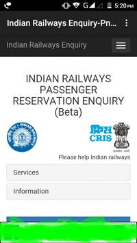 Indian Railways Enquiry-Pnr status & Train info poster