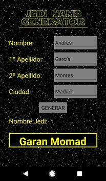 Jedi Name Generator screenshot 1