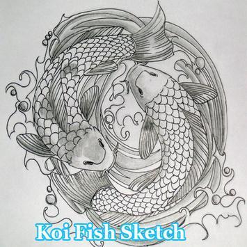 Koi Fish Sketch poster