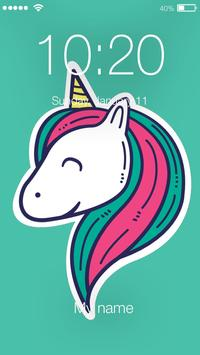 Magic Cartoon Unicorn Rainbow App Lock poster