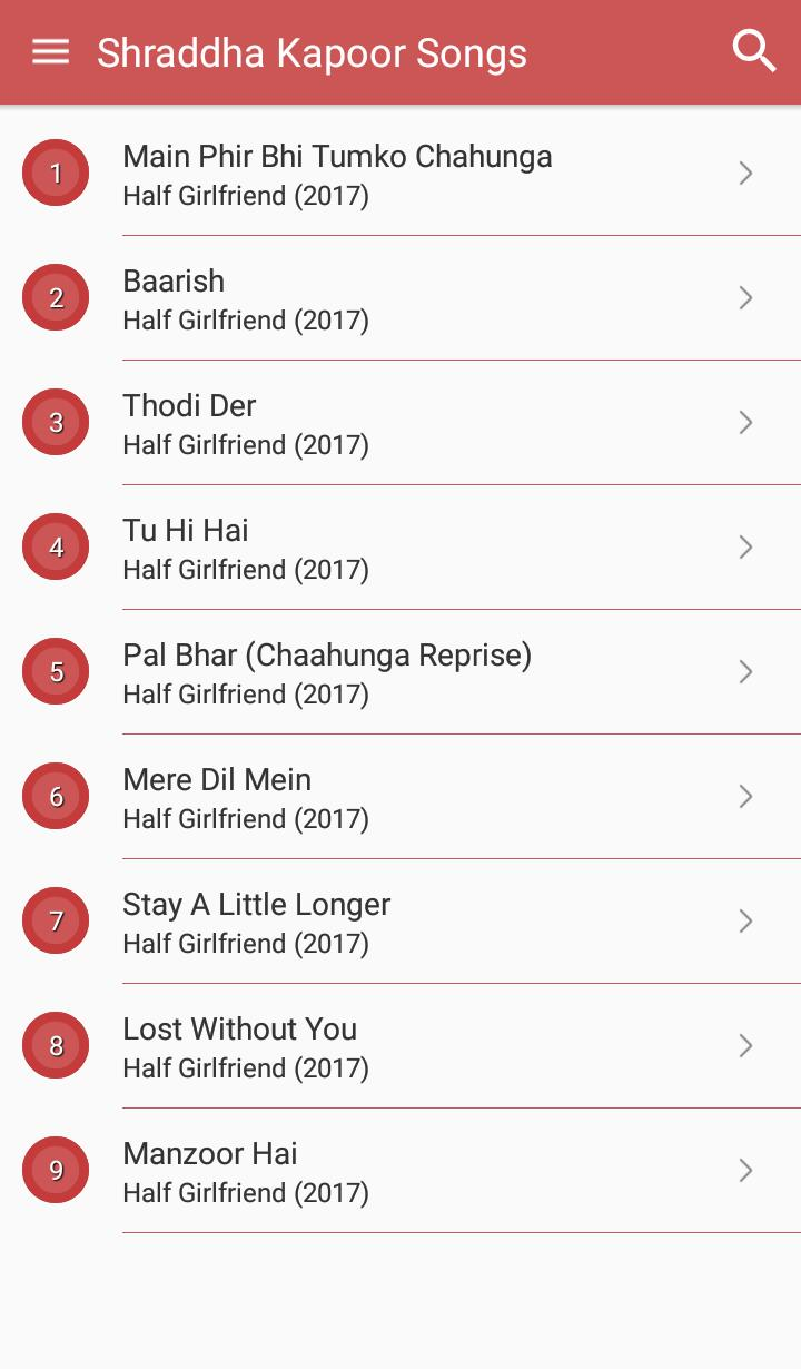 Hit Shraddha Kapoor Songs Lyrics and dialogues for Android