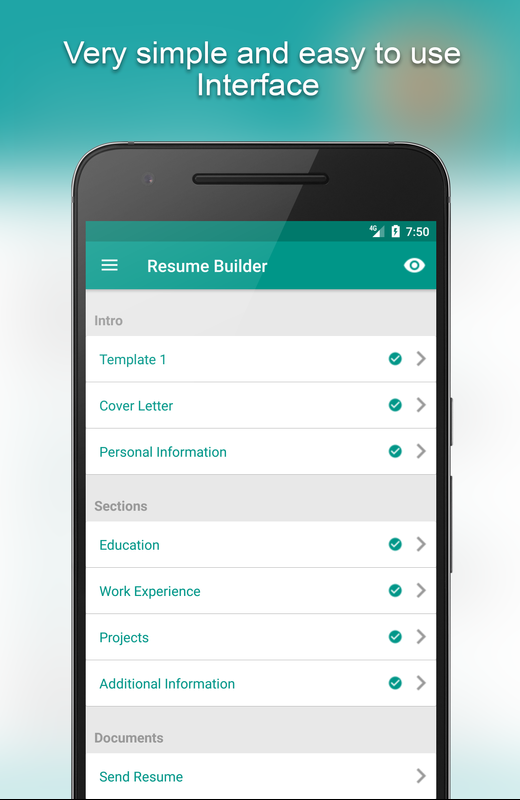 Free Cv Maker Resume Builder Editor Pdf Template For Android Apk