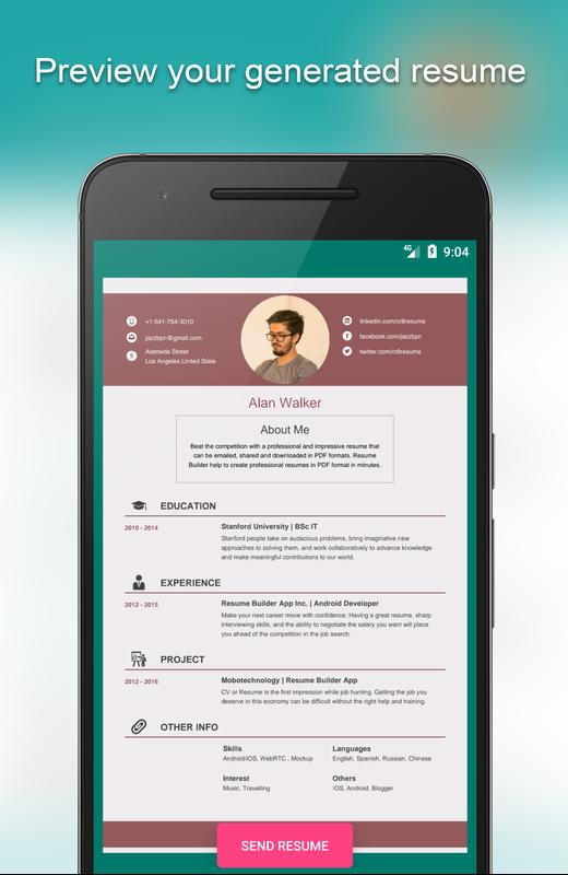 Resume Builder App Free APK Download - Free Tools APP for Android ...