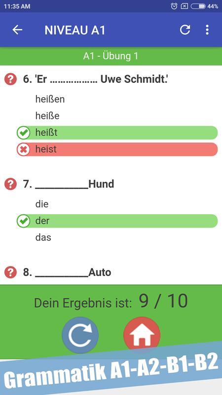 Test Zur Deutsch Grammatik A1 A2 B1 B2 для андроид скачать Apk