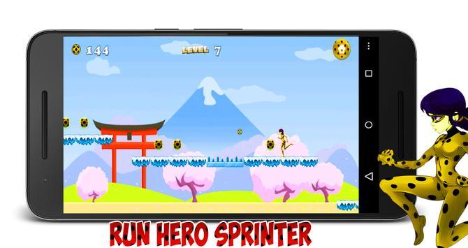 Running Ladybug Cat Hero Chibi poster
