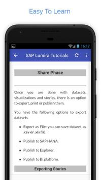 Tutorials for SAP Lumira Offline apk screenshot