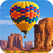 Flying air balloon. Wallpapers icon