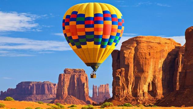 Flying air balloon. Wallpapers poster