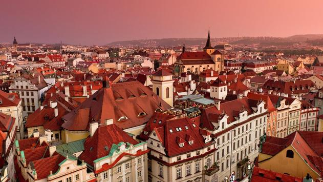 Roofs In Prague Live wallpaper poster