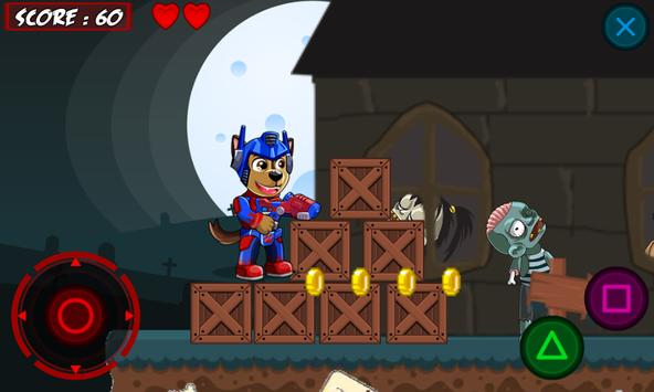 Paw Puppy Transform Battle Zombie apk screenshot