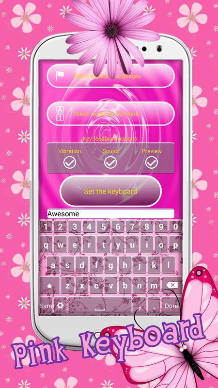 Pink Color Keyboard Themes Screenshot 2