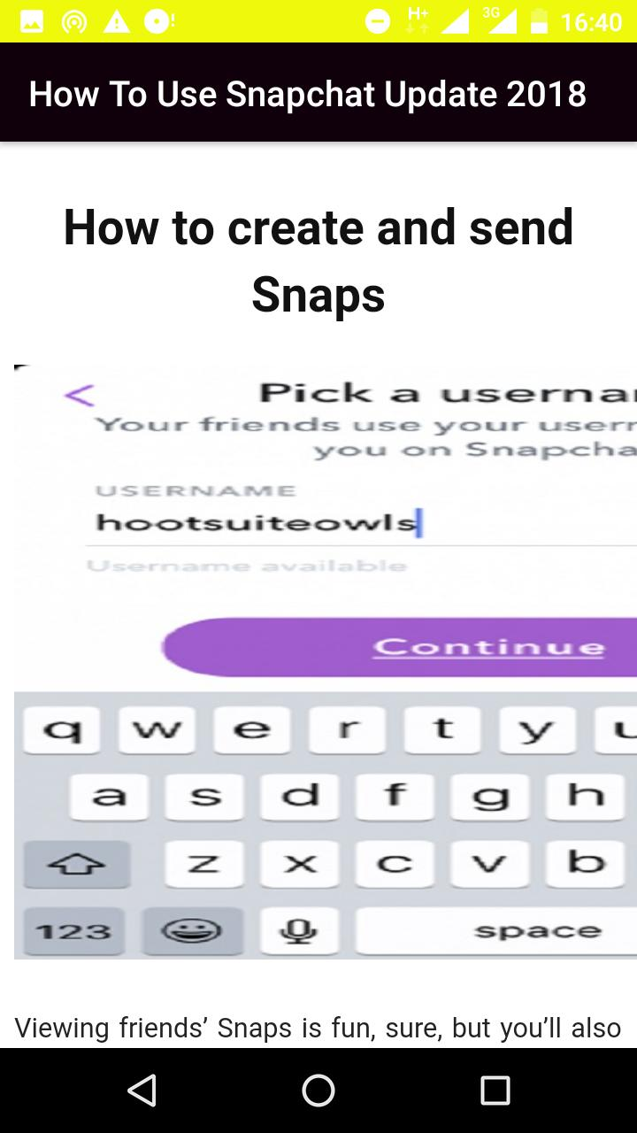 How To Use Snapchat Update 2019 {User Manual} for Android - APK Download