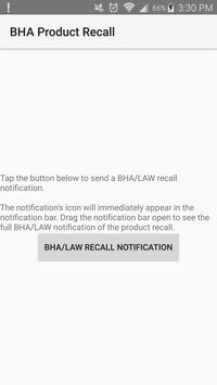 BHA Recall Notification poster