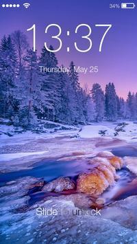 Winter Village Snow Frost Sunset Smart Screen Lock apk screenshot