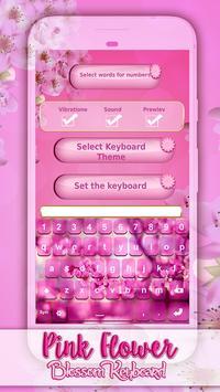 Pink Flower Blossom Keyboard apk screenshot