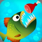 piranha eating game icon