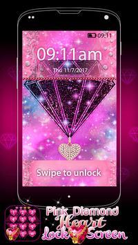 Pink Diamond Heart Lock Screen screenshot 5