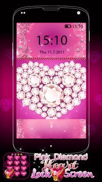 Pink Diamond Heart Lock Screen screenshot 3