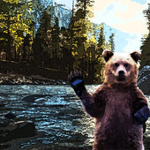 Bear and the river icon