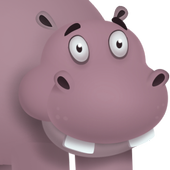 Hippo in a crazy race icon