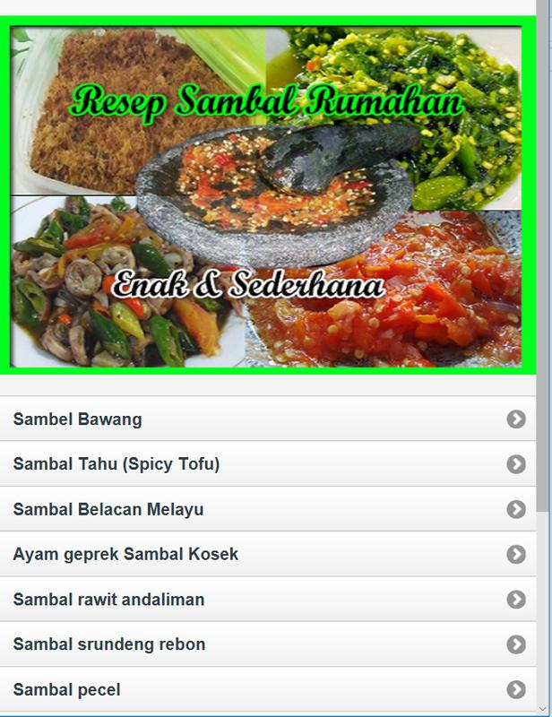 Aneka Sambal Simple Home Recipe For Android Apk Download