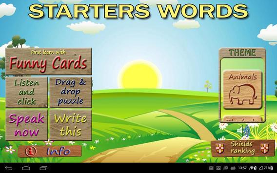 Starters Vocabulary para niños de primaria. poster