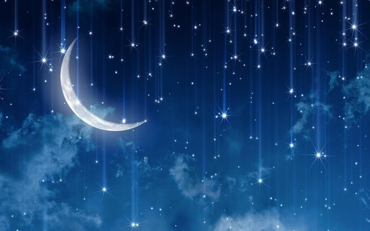 1971, открытка со звездами и луной