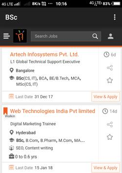 Freshers Job After BSc poster