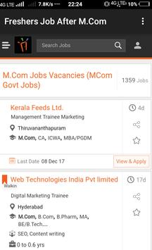 Freshers Job After M.Com poster