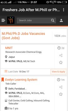 Freshers Job After M.Phill & Ph.D poster