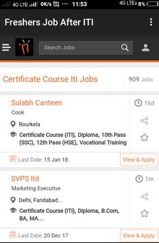 Freshers Job After ITI poster