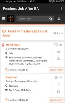 Freshers Job After BA poster