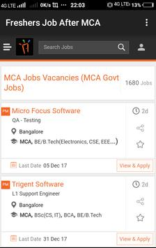Freshers Job After MCA poster