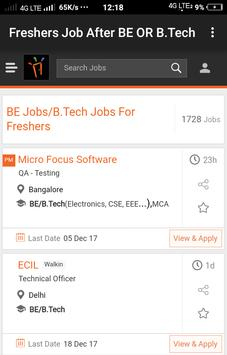 Freshers Job After BE & B.Tech poster