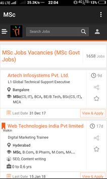 Freshers Job After MSc poster