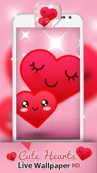 Cute Hearts Live Wallpaper HD Poster