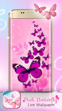 Pink Butterfly Live Wallpaper poster