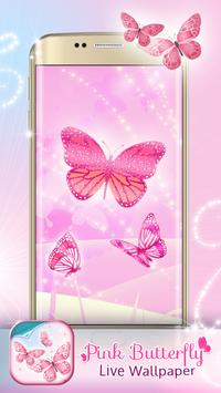 Pink Butterfly Live Wallpaper apk screenshot