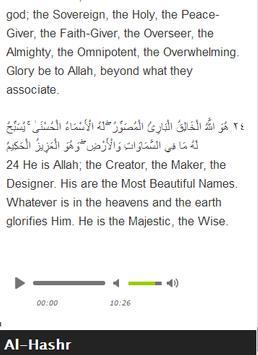 Surah Al - Hashr Mp3 apk screenshot