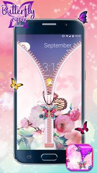 Butterfly Zipper Lock Screen poster
