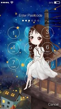 Beautiful Lovely Chibi Girls Screen Lock apk screenshot