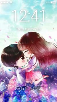 Cute Chibi Couple In Love Screen Lock poster