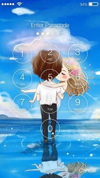 Cute Chibi Couple In Love Screen Lock apk screenshot