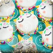 Rainbow Nice Macarons With Unicorns Screen Lock icon