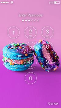 Rainbow Nice Macarons With Unicorns Screen Lock screenshot 1