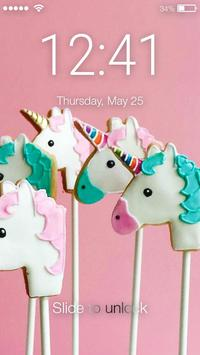 Sweet And Cute Unicorn Cookies Screen Lock poster