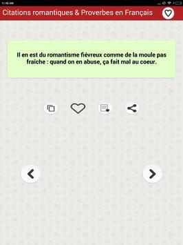 Citations romantiques & Proverbes en Français apk screenshot