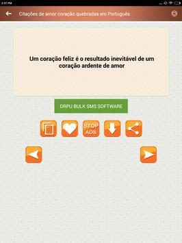 Citações de amor coração quebradas em Português screenshot 8